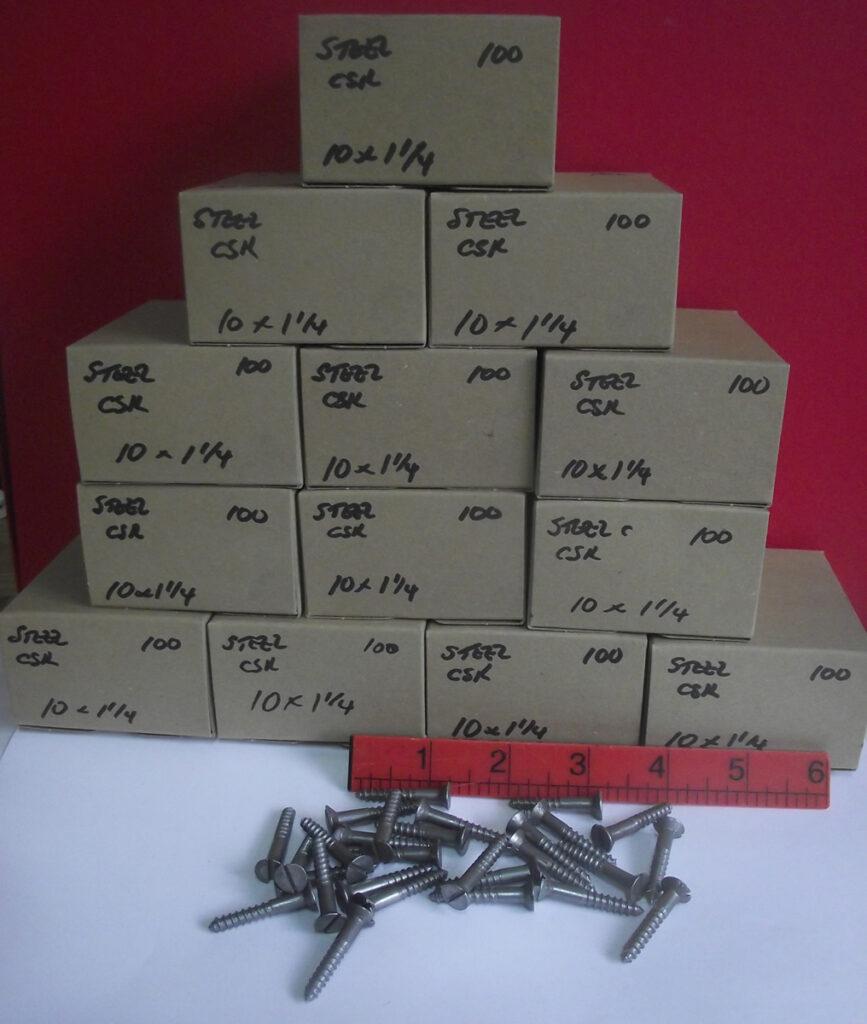 10 x 1 1/4  Slotted CSK Steel Wood Screws